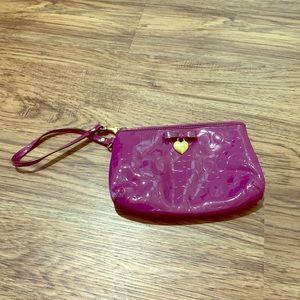 COACH IRIS Bow & Heart - Purple Embossed Wristlet